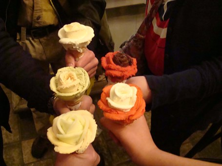 The ice cream near the cathedral was formed in the shape of a rose.  Delicious too!   2014
