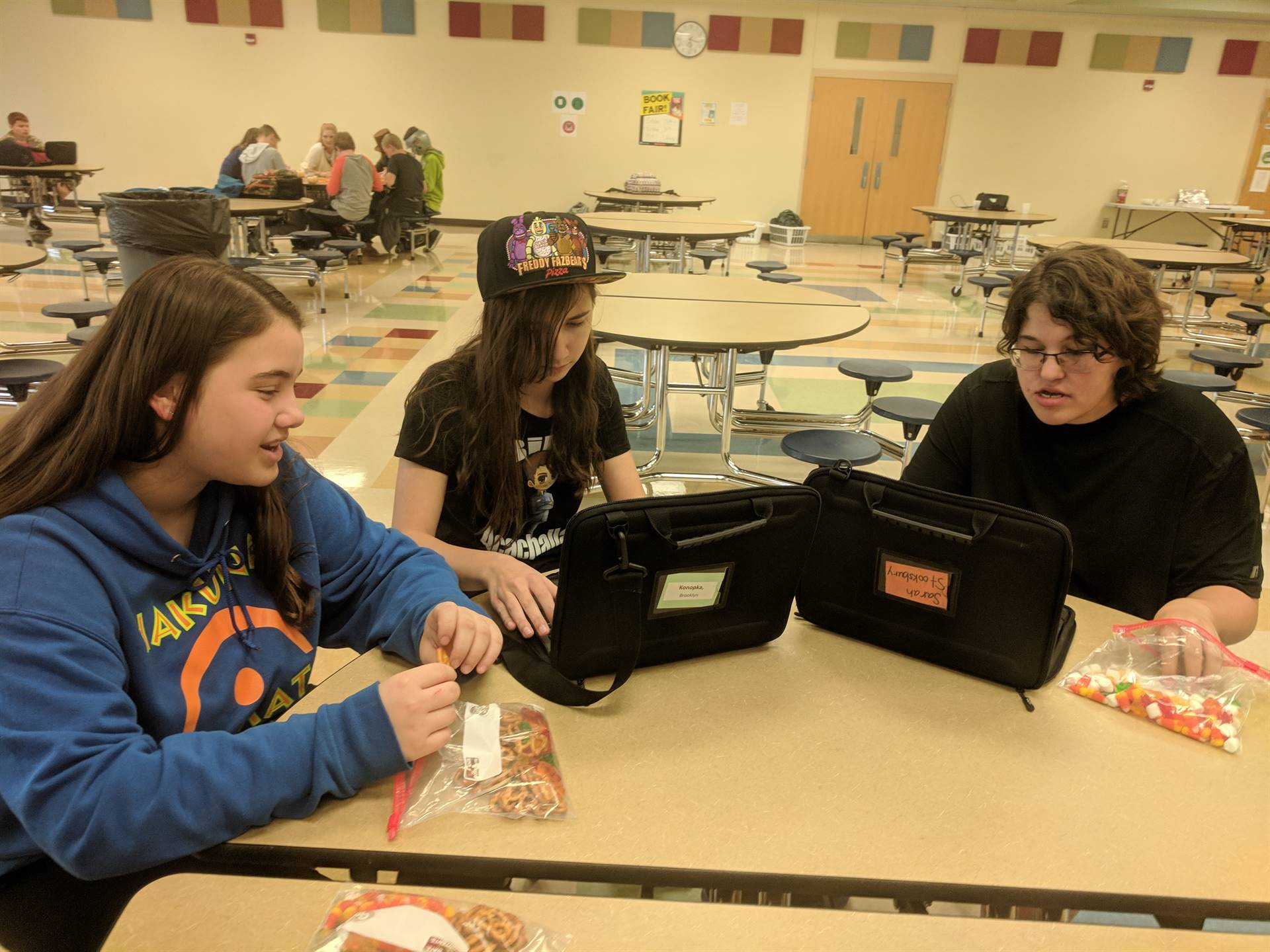 Madison, Brooklyn and Sarah snacking and collaborating!